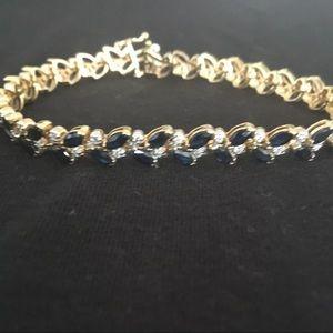 Jewelry - 14kt gold sapphire and diamond bracelet